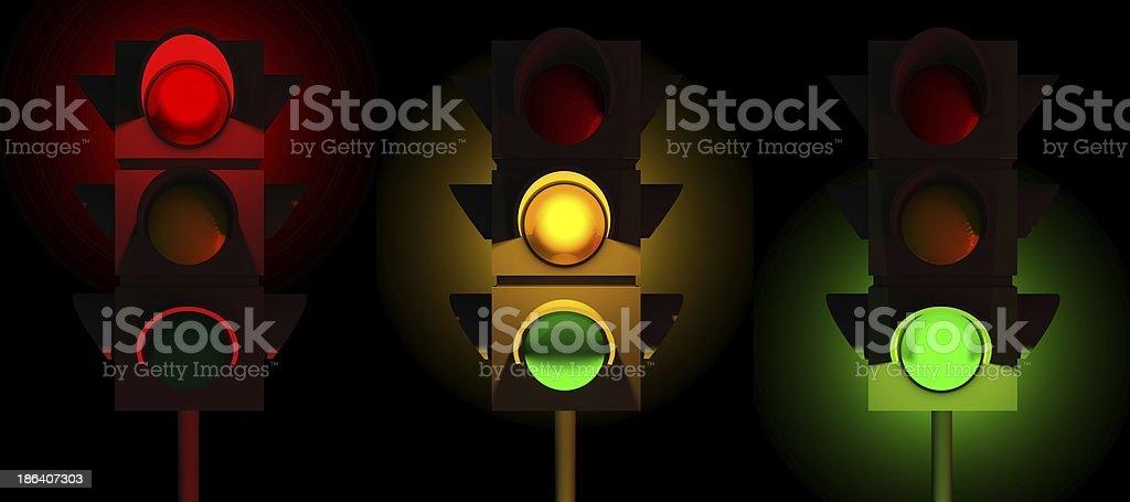 3d traffic lights set royalty-free stock photo