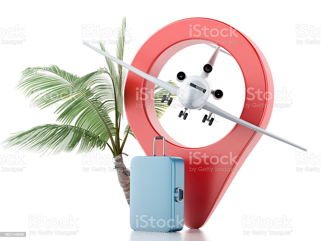 3d Travel suitcase, airplane and map pointer. stock photo