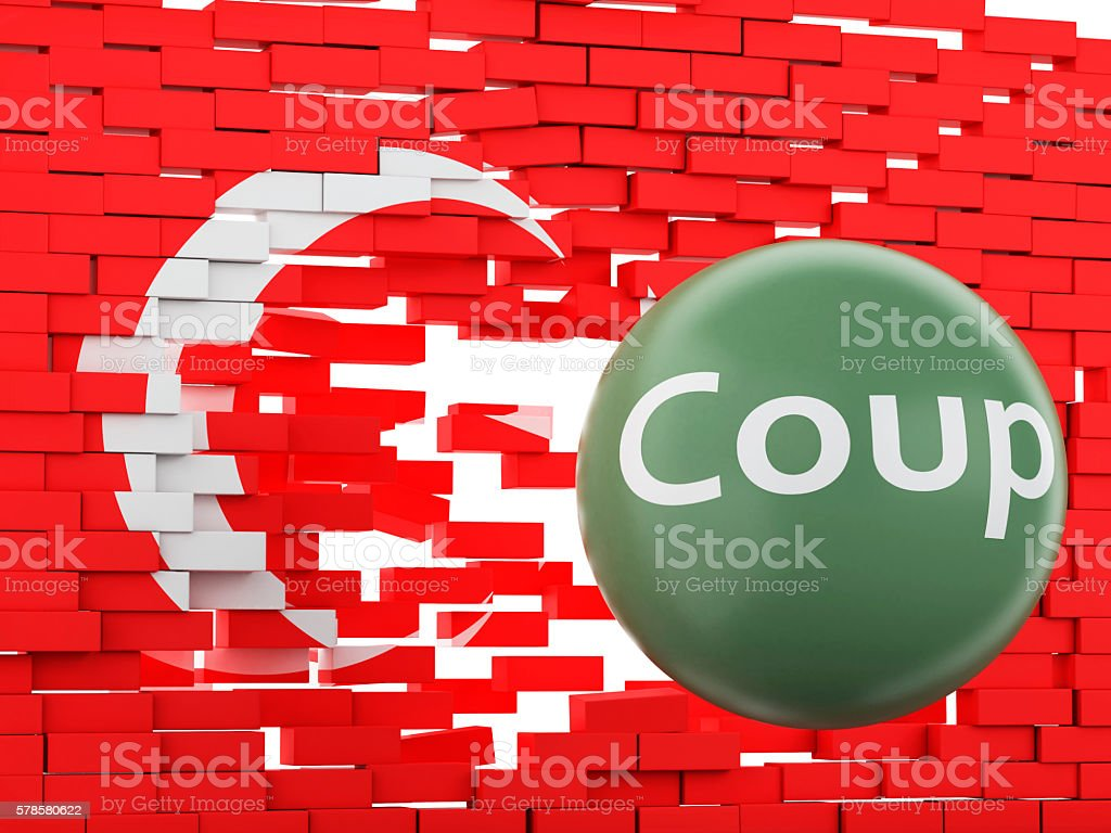 3d Turkey flag. Military Coup Attempt concept stock photo