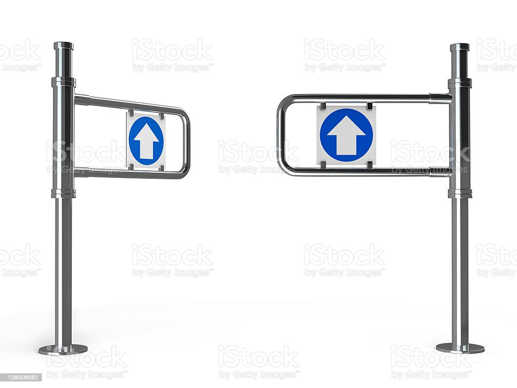 3d turnstiles isolated on white royalty-free stock photo