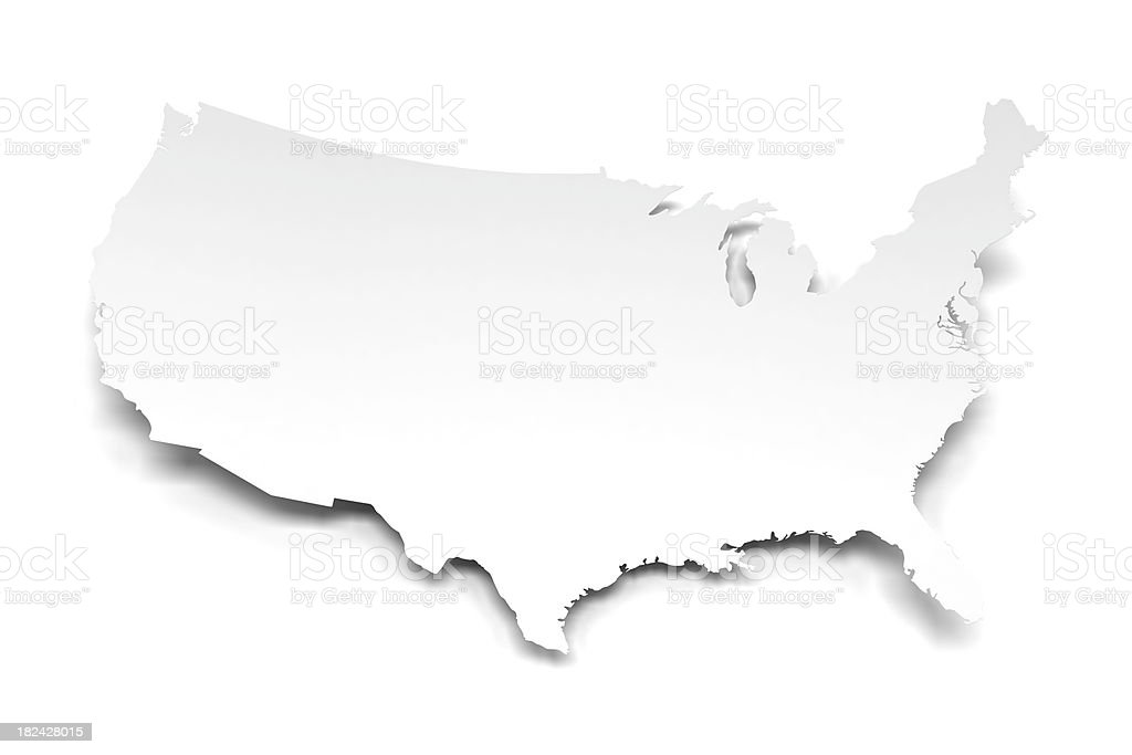 3d USA shape paper with clipping path royalty-free stock photo