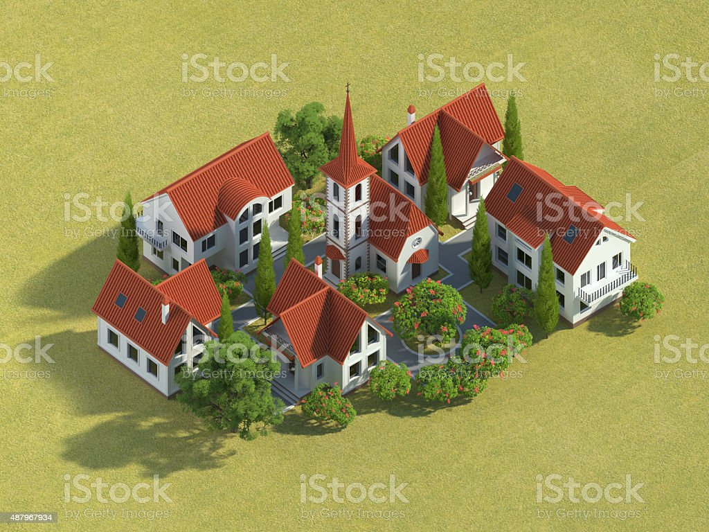 3d village stock photo