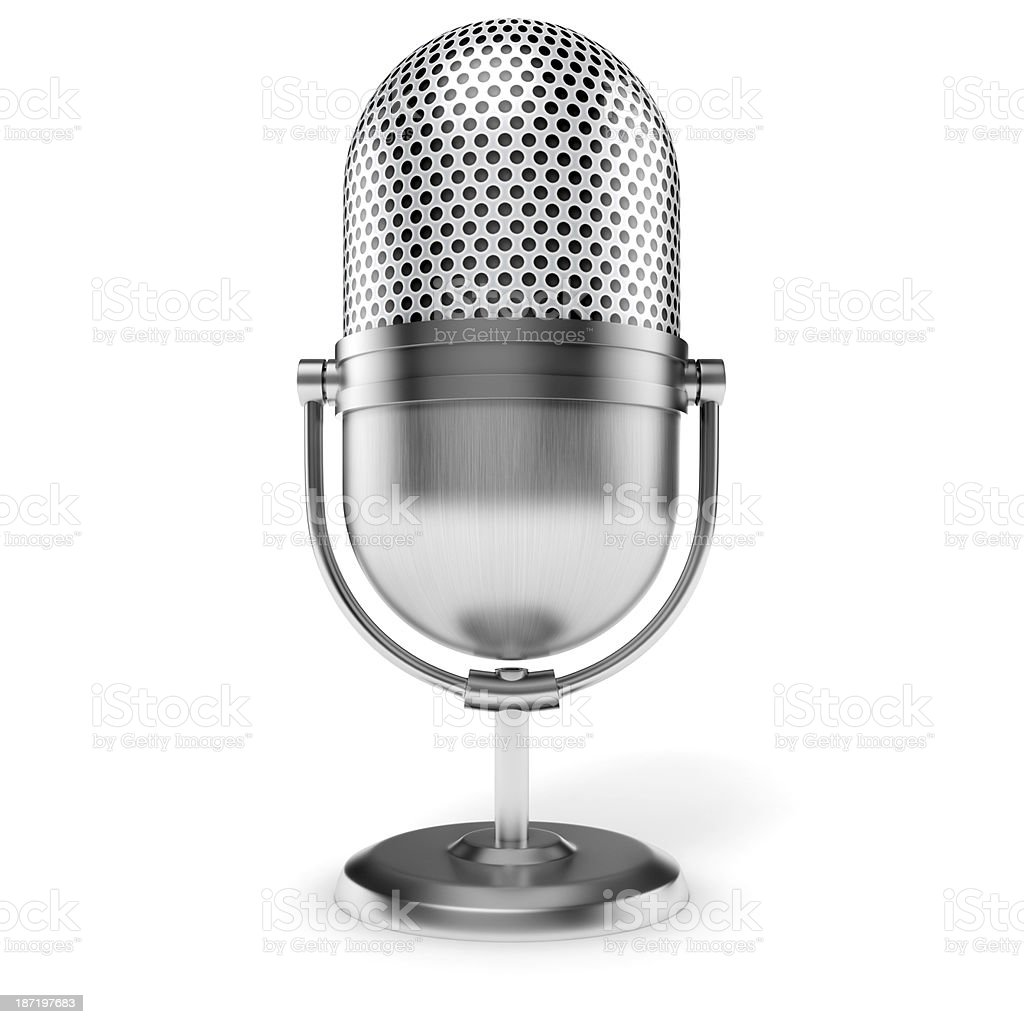 3d vintage microphone on white background royalty-free stock photo