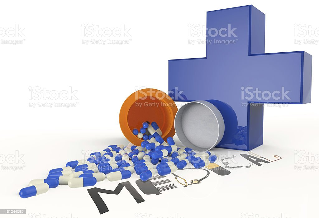 3d virtual medical symbol with capsule pills royalty-free stock photo