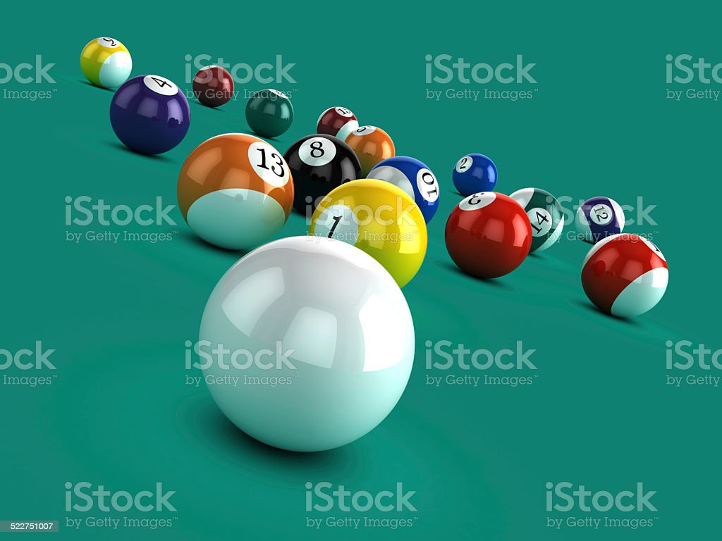 3d White ball breaks in game of pool stock photo