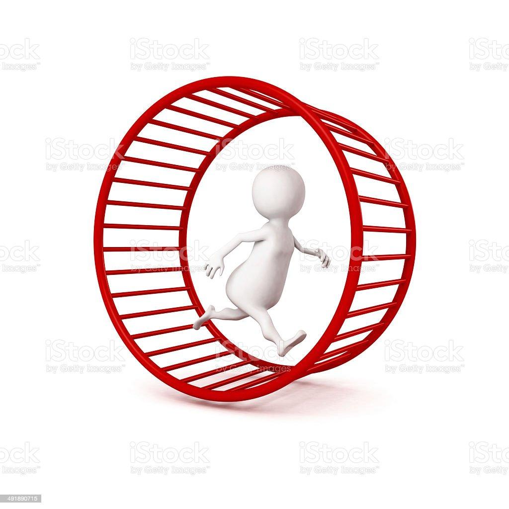 3d white businessman runs in hamster wheel stock photo