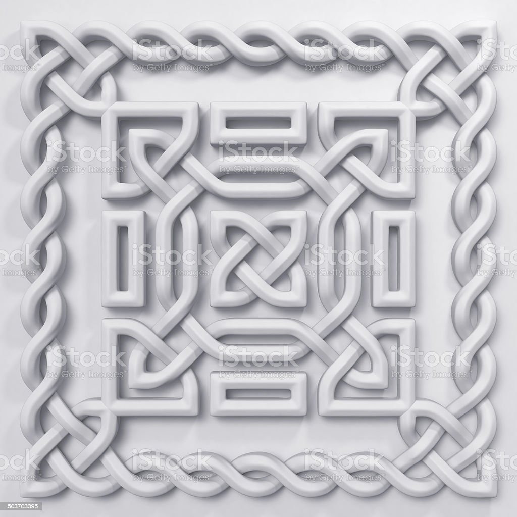 3d white Celtic pattern design element stock photo