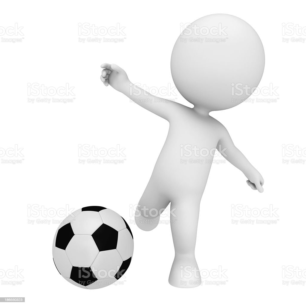 3d white character with football royalty-free stock photo