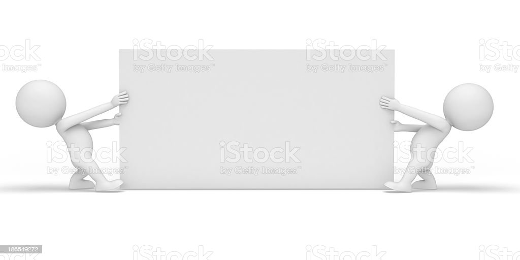 3d white character with sign royalty-free stock photo