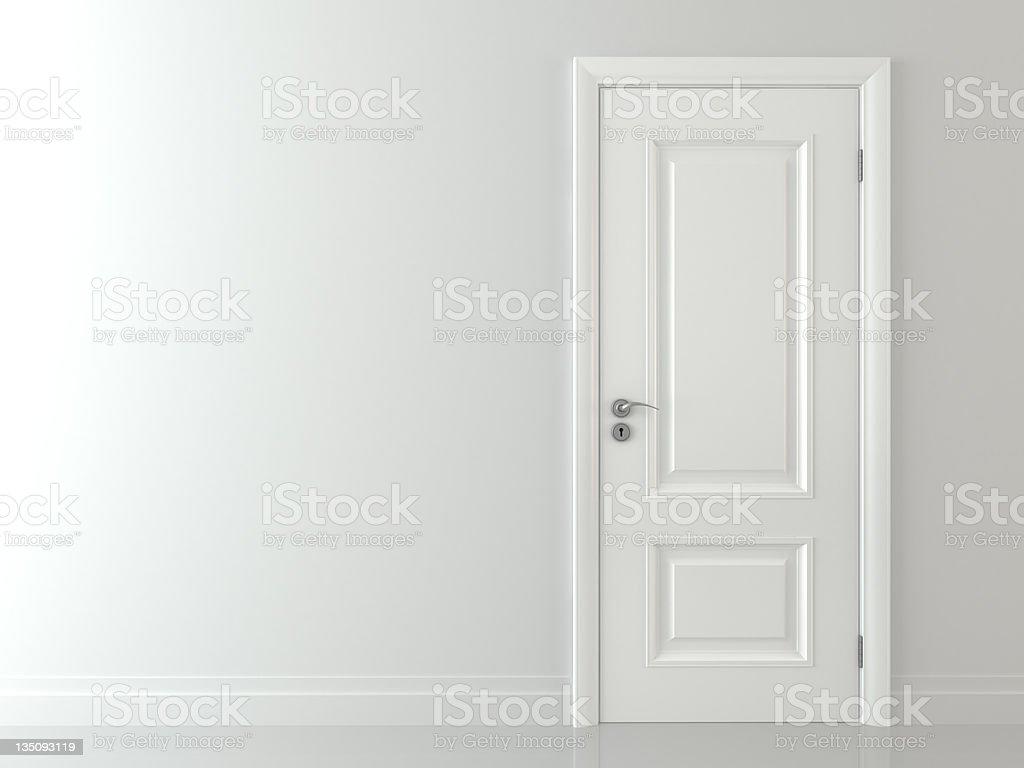 3d White classic door stock photo