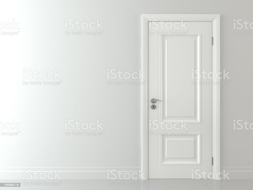 3d White classic door stock photo
