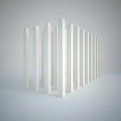 3d white cube composition of repeated vertical elements.