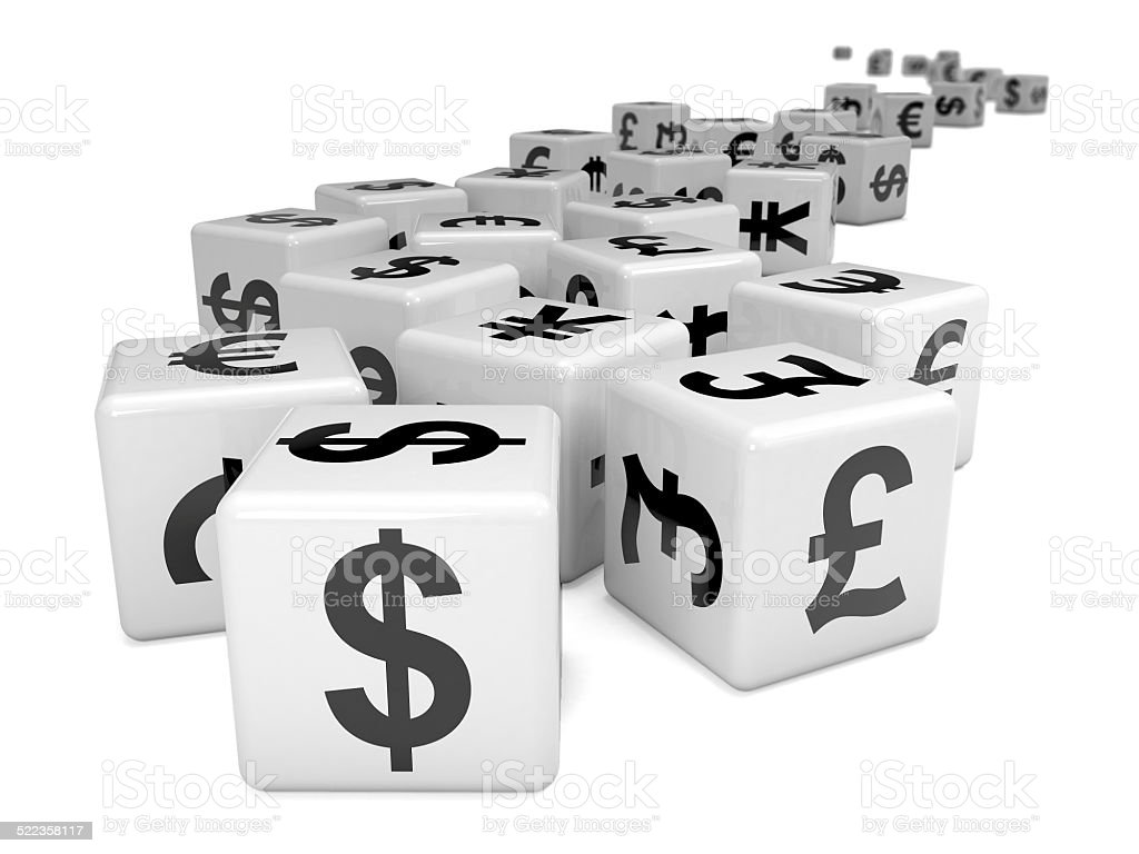 3d White currency symbol dice stock photo