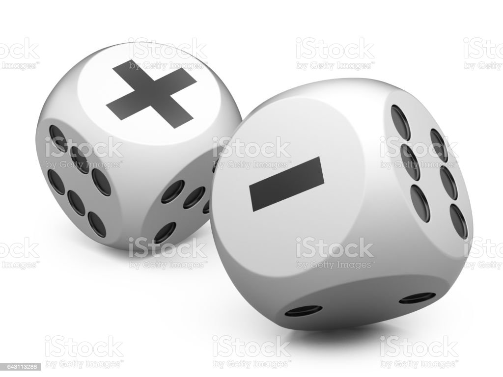 3d white game dices wit plus an minus sign. stock photo