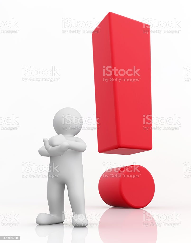 3d white man and red exclamation mark. stock photo