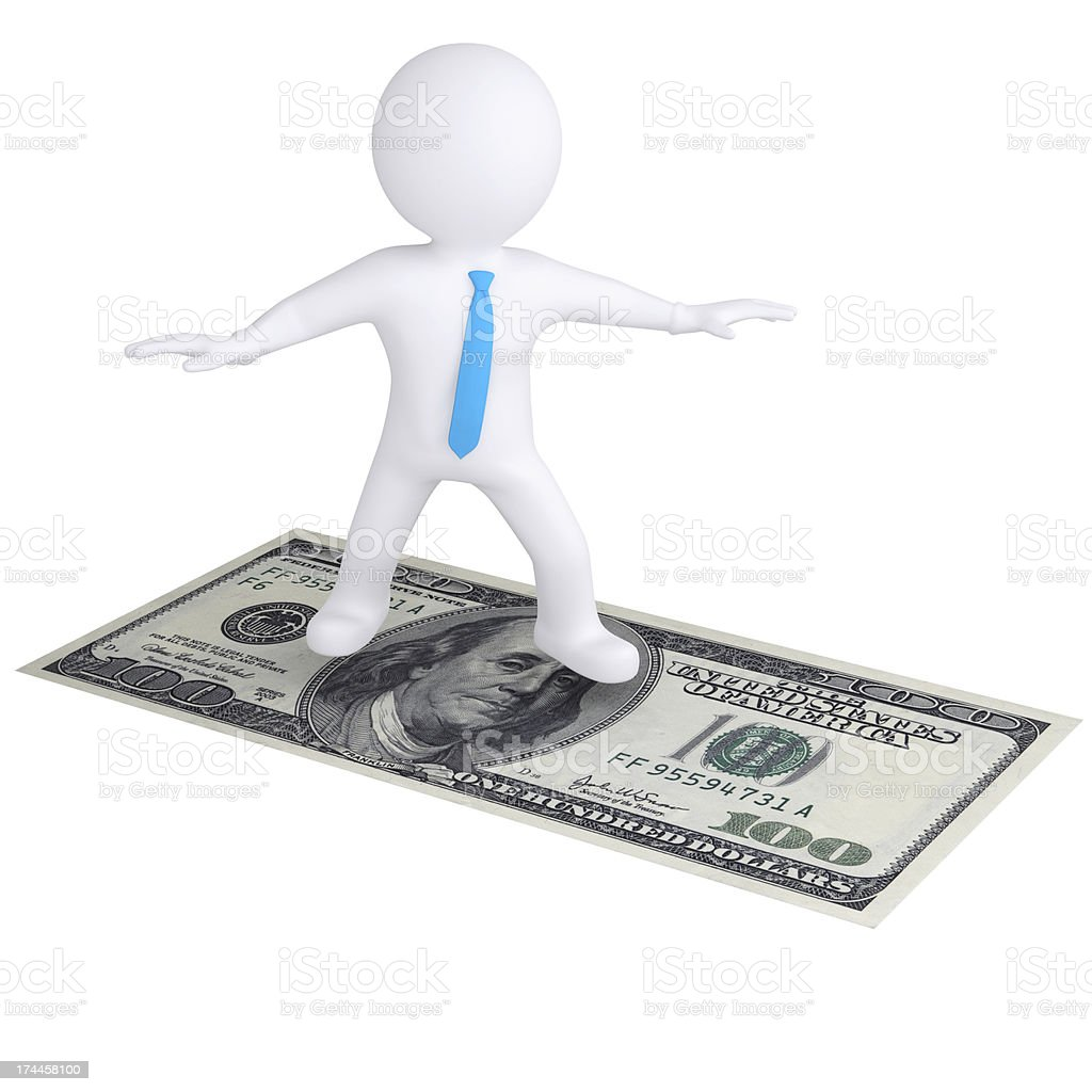 3d white man flying on the dollar bill royalty-free stock photo