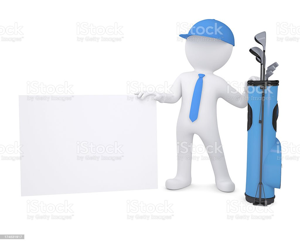 3d white man holding a cardboard card royalty-free stock photo
