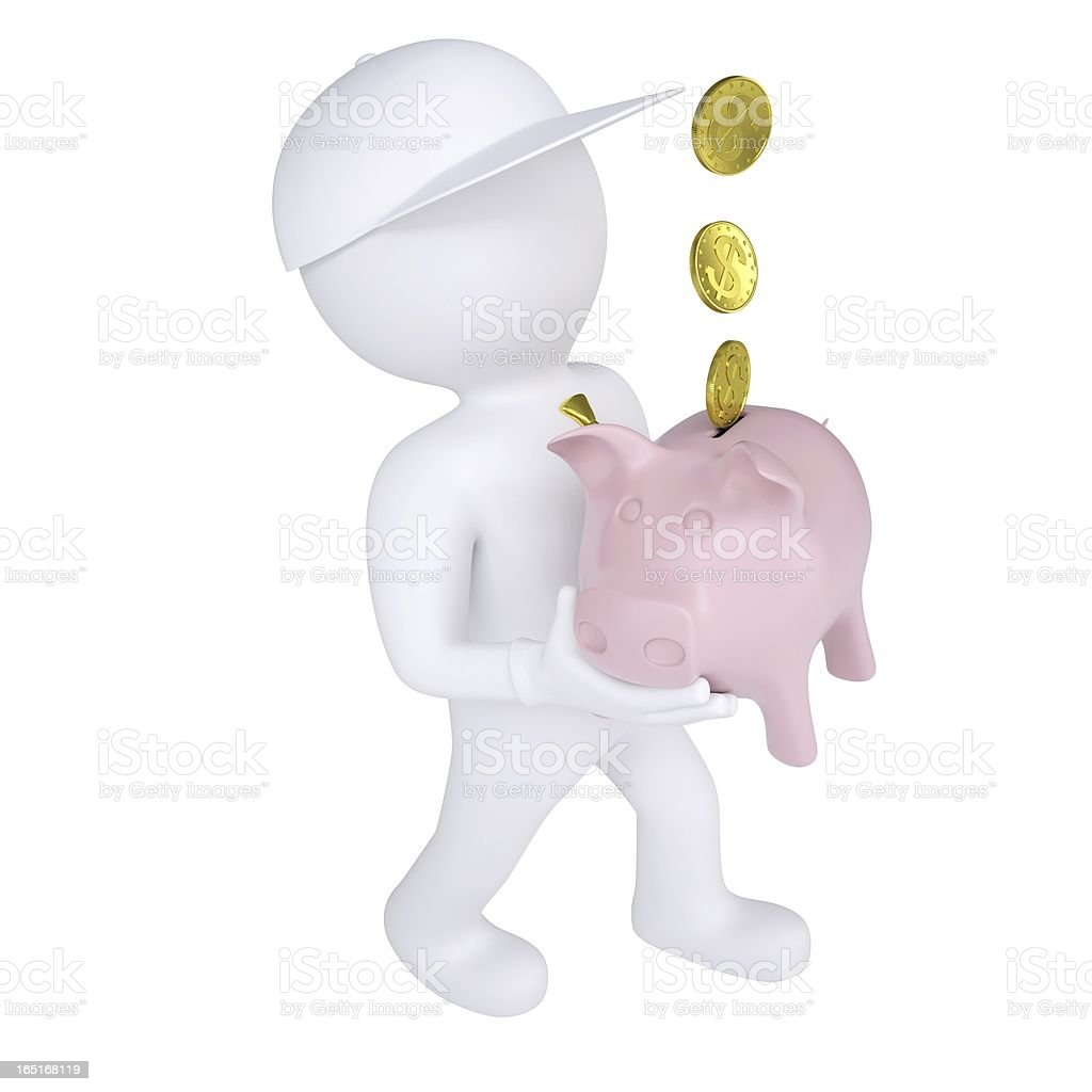 3d white man holding a piggy bank royalty-free stock photo