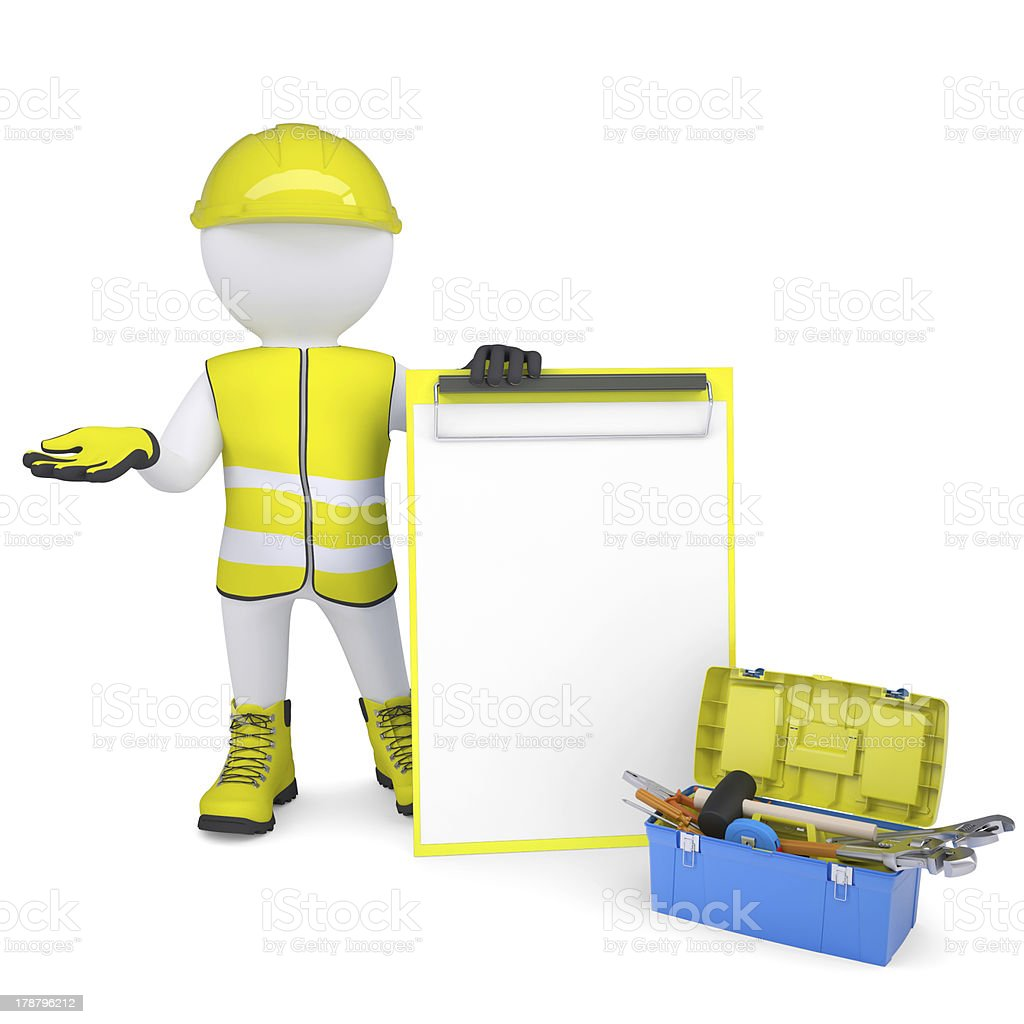 3d white man in overalls with checklists and tools royalty-free stock photo