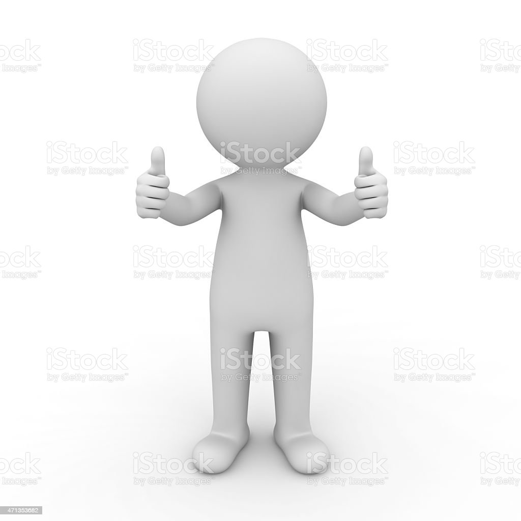 3d white man showing thumbs up vector art illustration