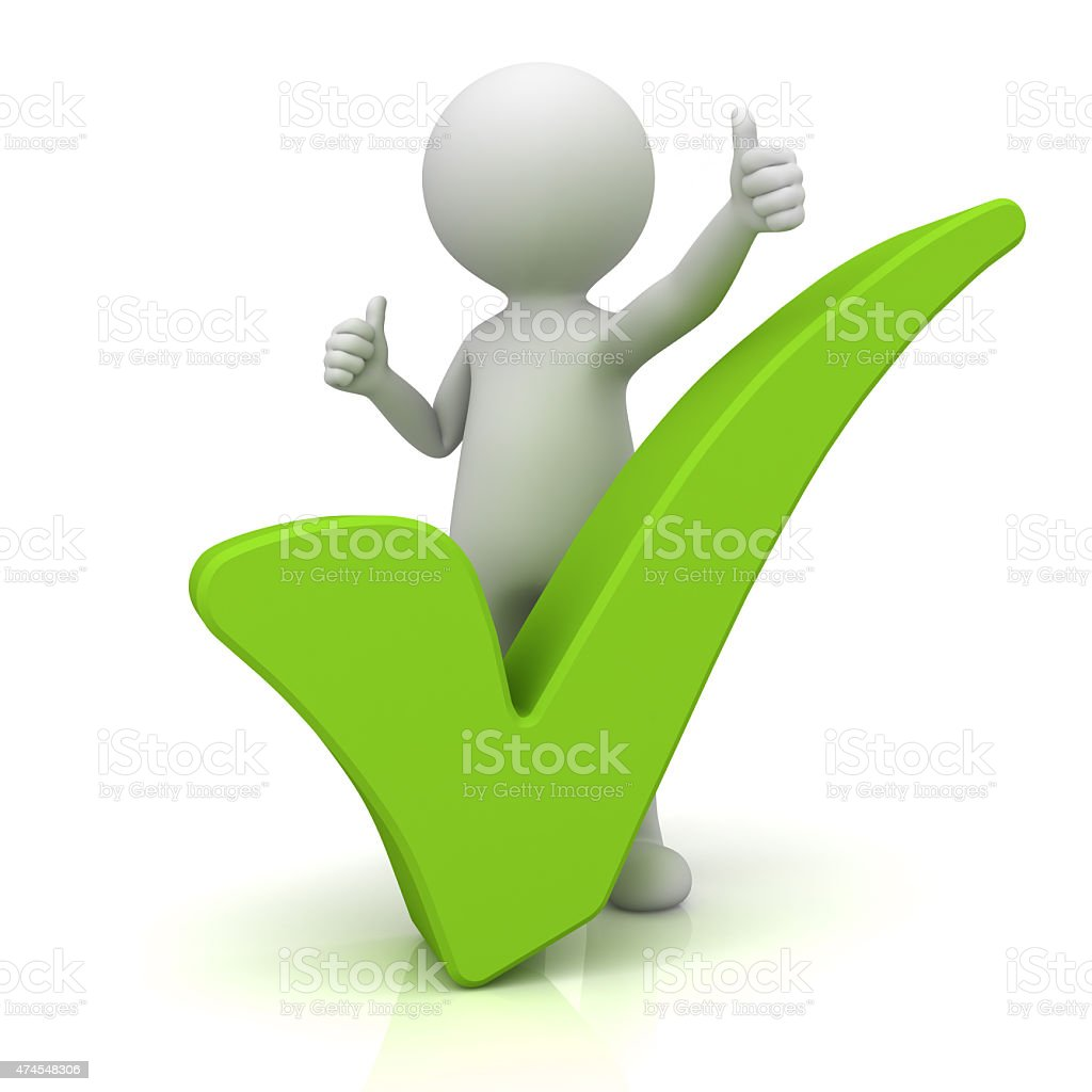 3d white man with big green tick stock photo