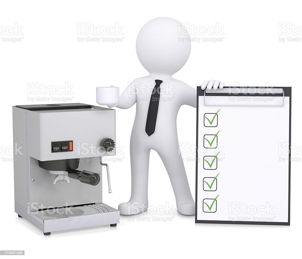 3d white man with coffee machine and checklist royalty-free stock photo