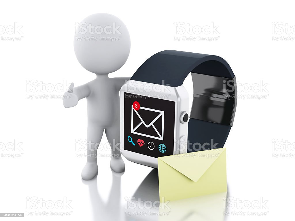 3d White people and smart watch. Technology concept stock photo