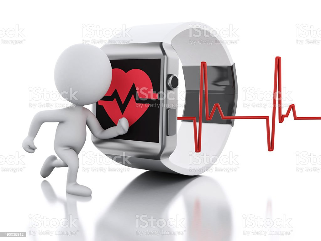 3d white people and smart watch with red health icon. stock photo