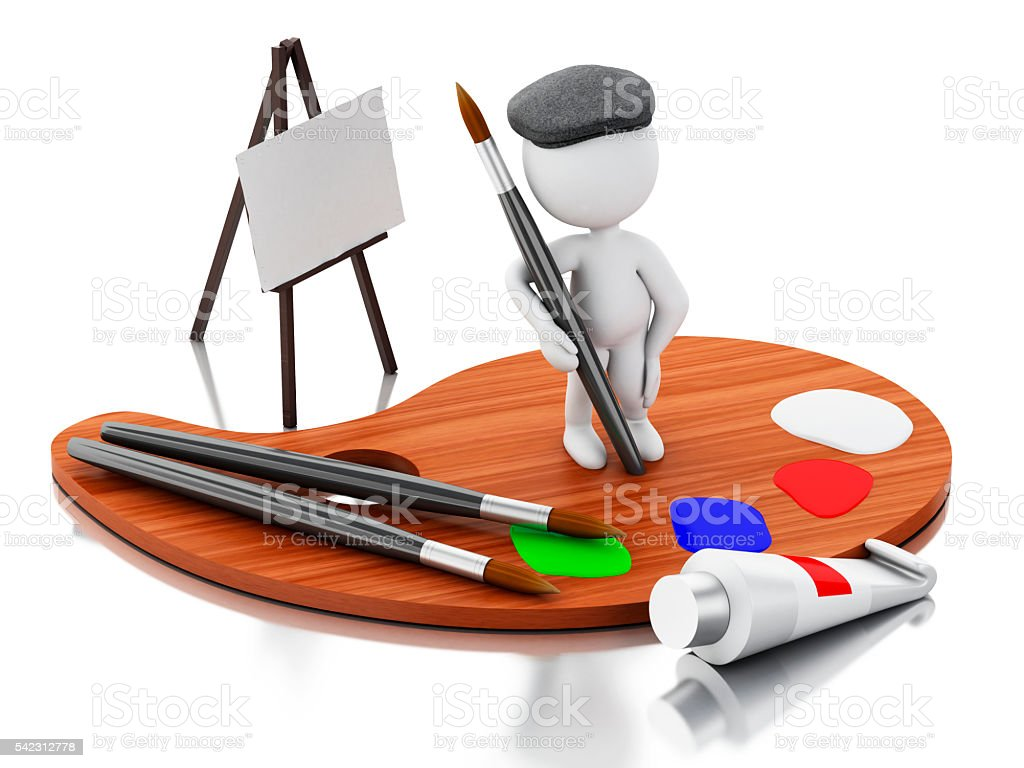 3d White people artist painting on color palette. stock photo