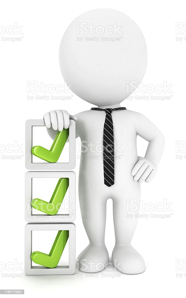 3d white people checklist stock photo
