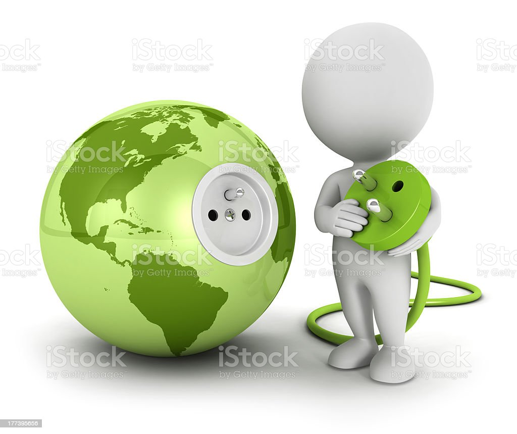 3d white people connects plug inside green earth stock photo