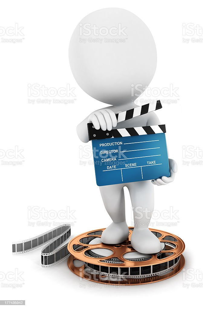3d white people holding a movie clapper stock photo