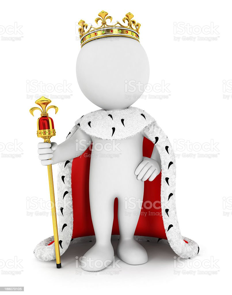 3d white people king stock photo