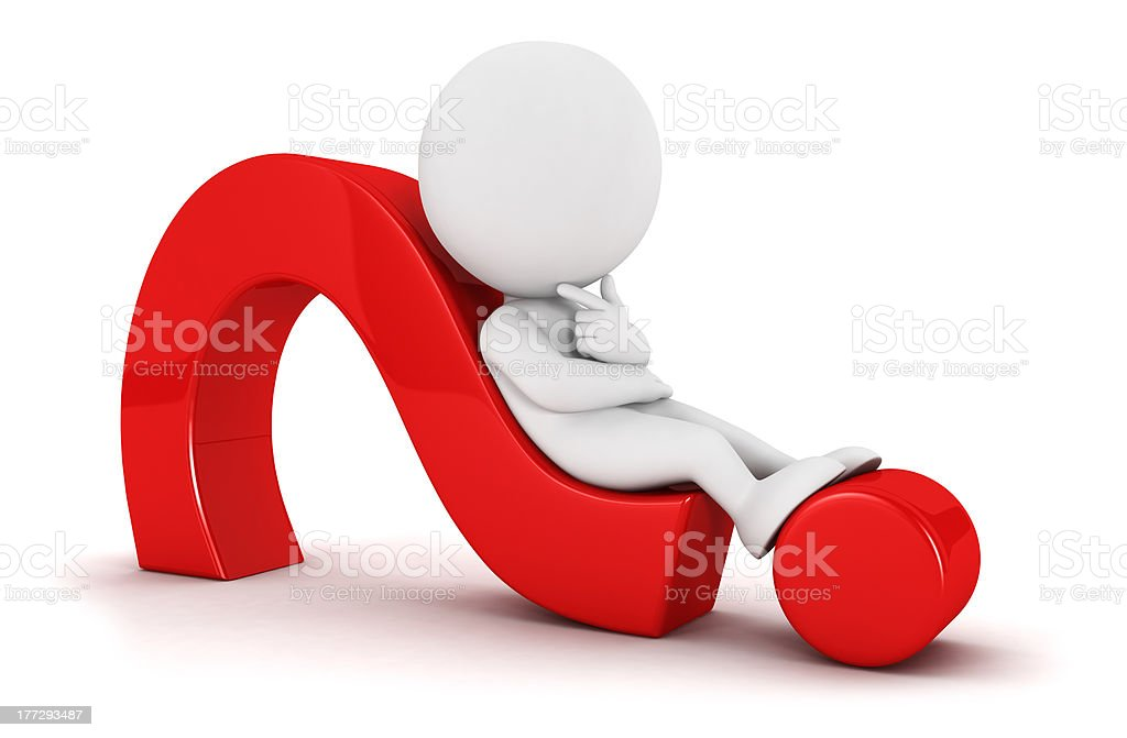 3d white people lying on a question mark stock photo