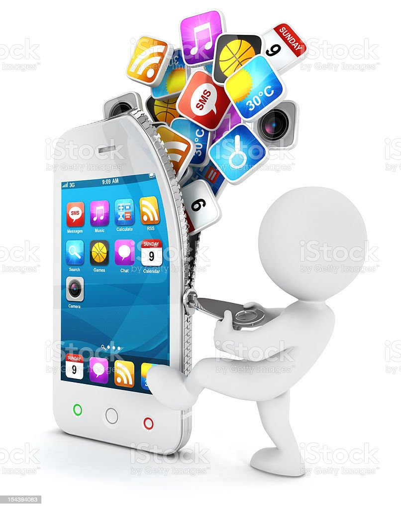 3d white people opens a smartphone royalty-free stock photo