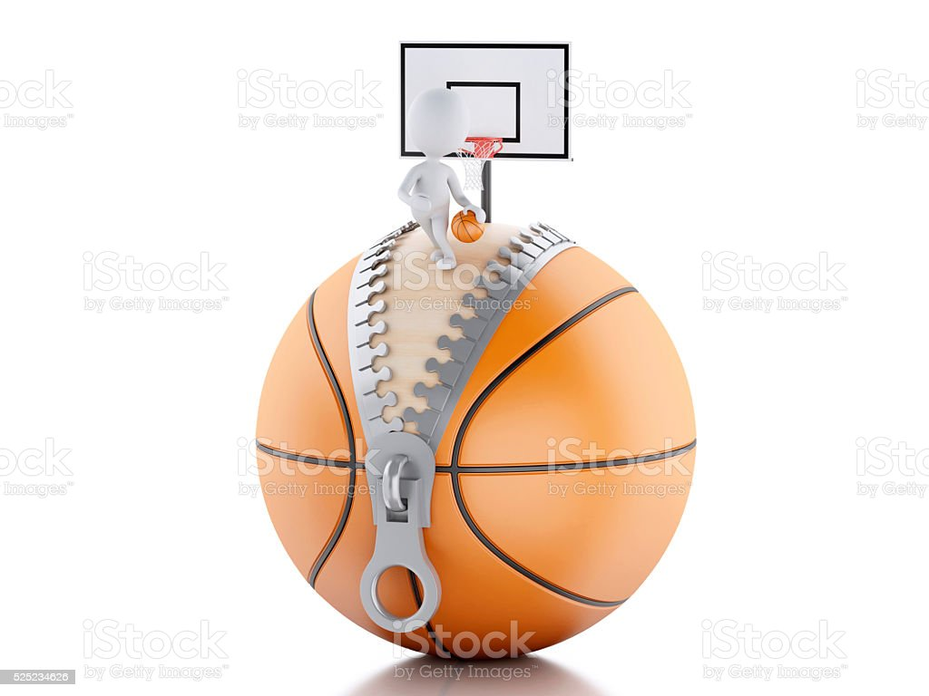 3d renderer image. 3d white people playing on top of basketball ball....