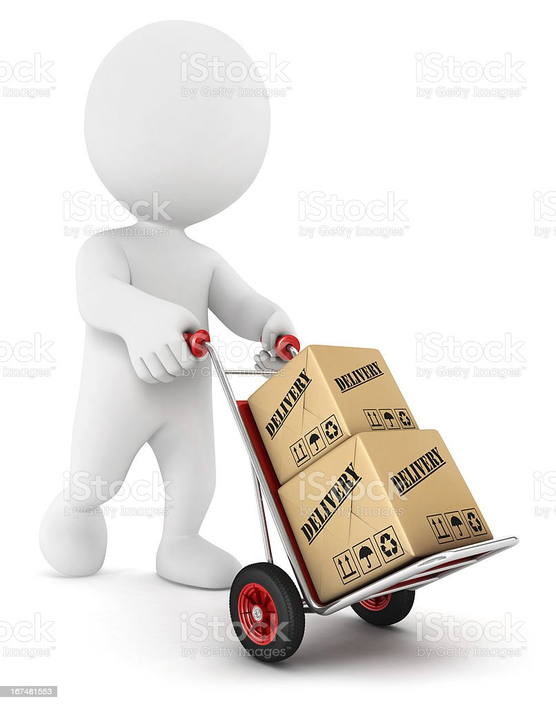 3d white people pushing a hand truck royalty-free stock vector art