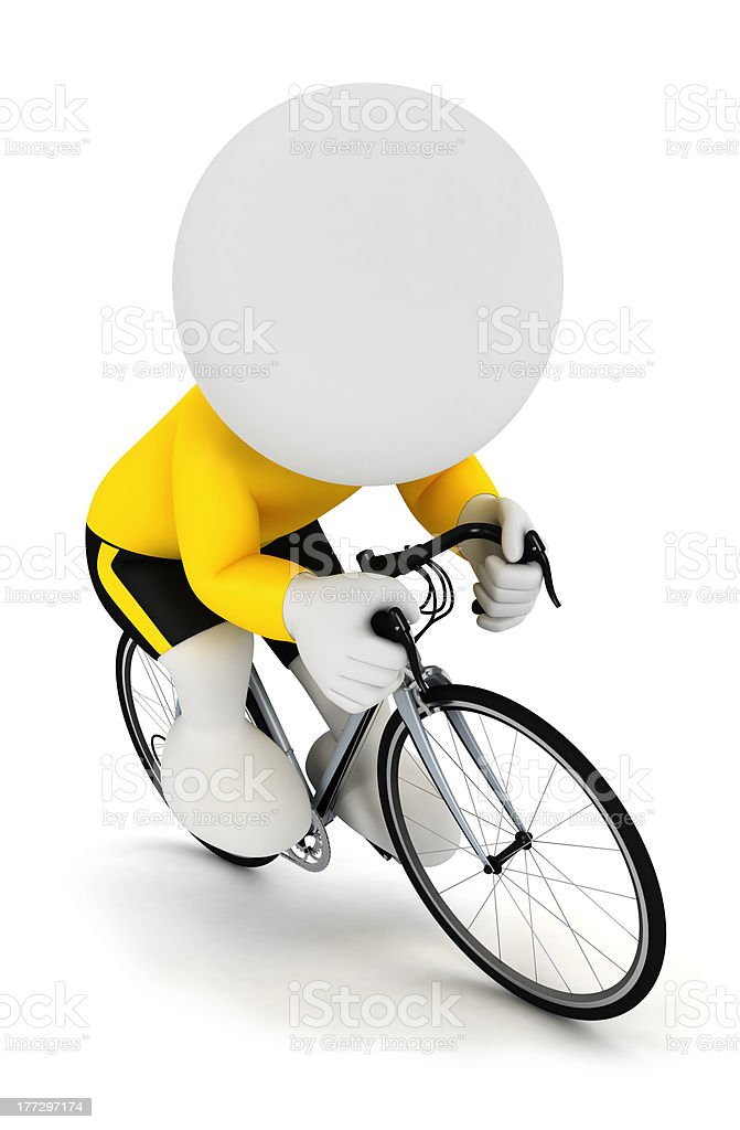 3d white people racing cyclist royalty-free stock photo