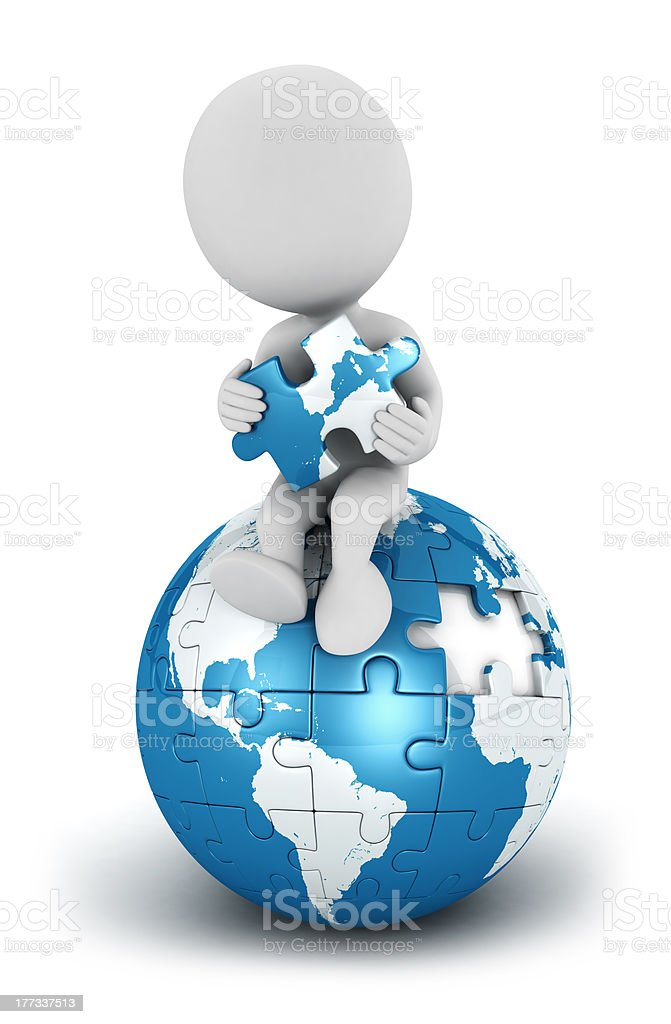 3d white people seated on blue earth puzzle royalty-free stock photo