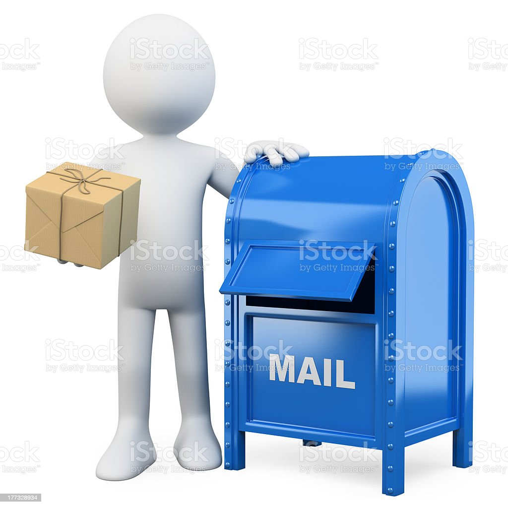 3d white people. Send a package. royalty-free stock photo