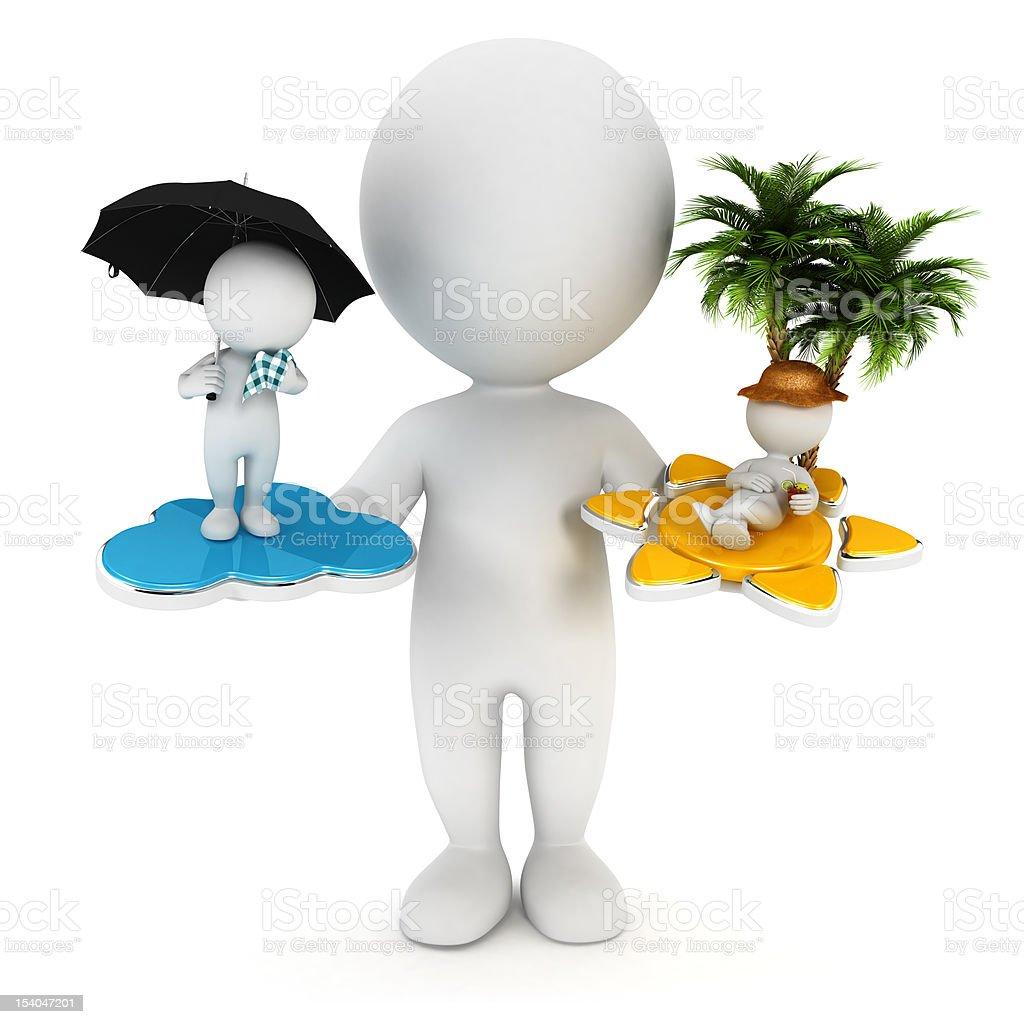 3d white people sun or rain stock photo