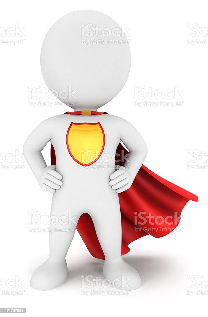 3d white people superhero return vector art illustration