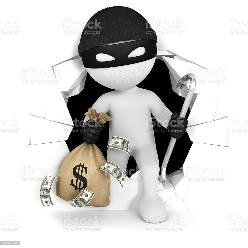 3d white people thief with money royalty-free stock photo