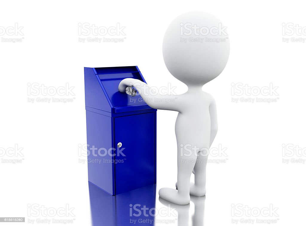 3d White people throwing trash. stock photo