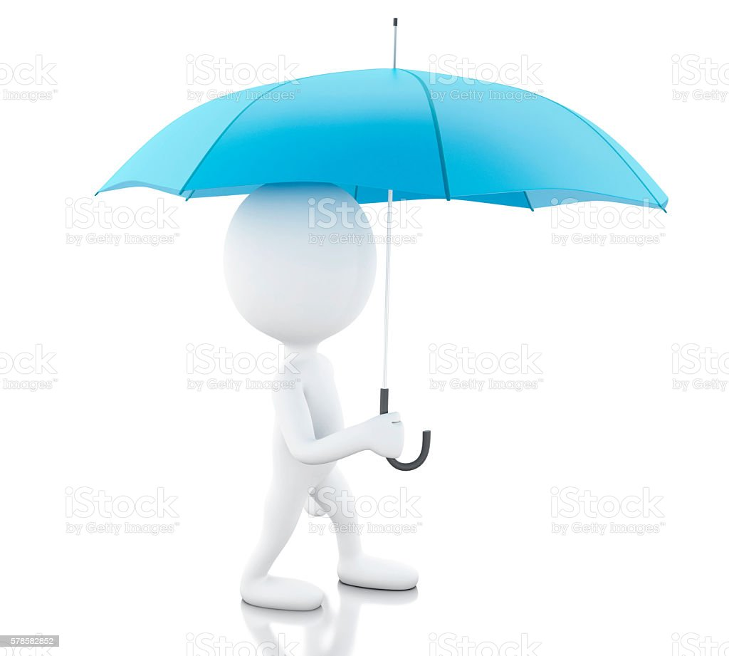 3d White people with a blue umbrella. stock photo