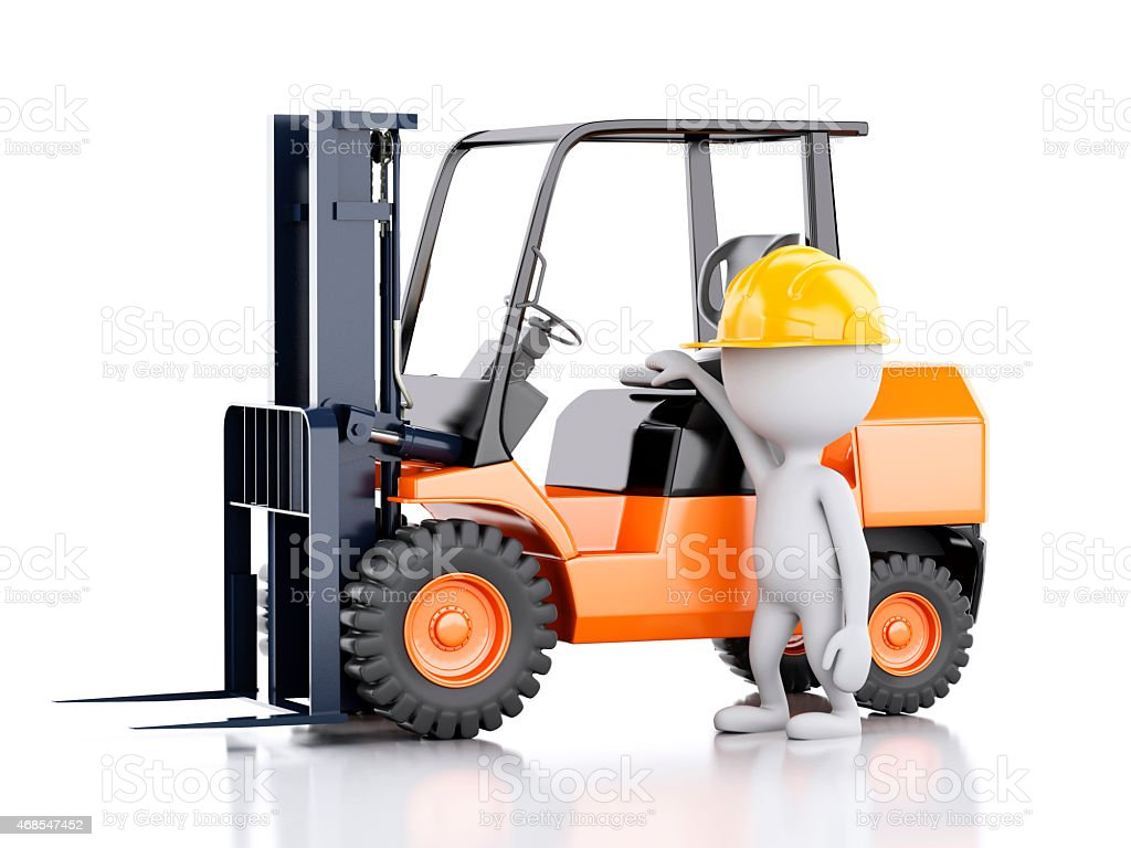 3d white people with a forklift truck. vector art illustration