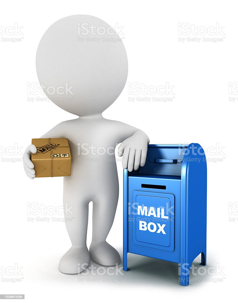 3d white people with a mail package royalty-free stock photo