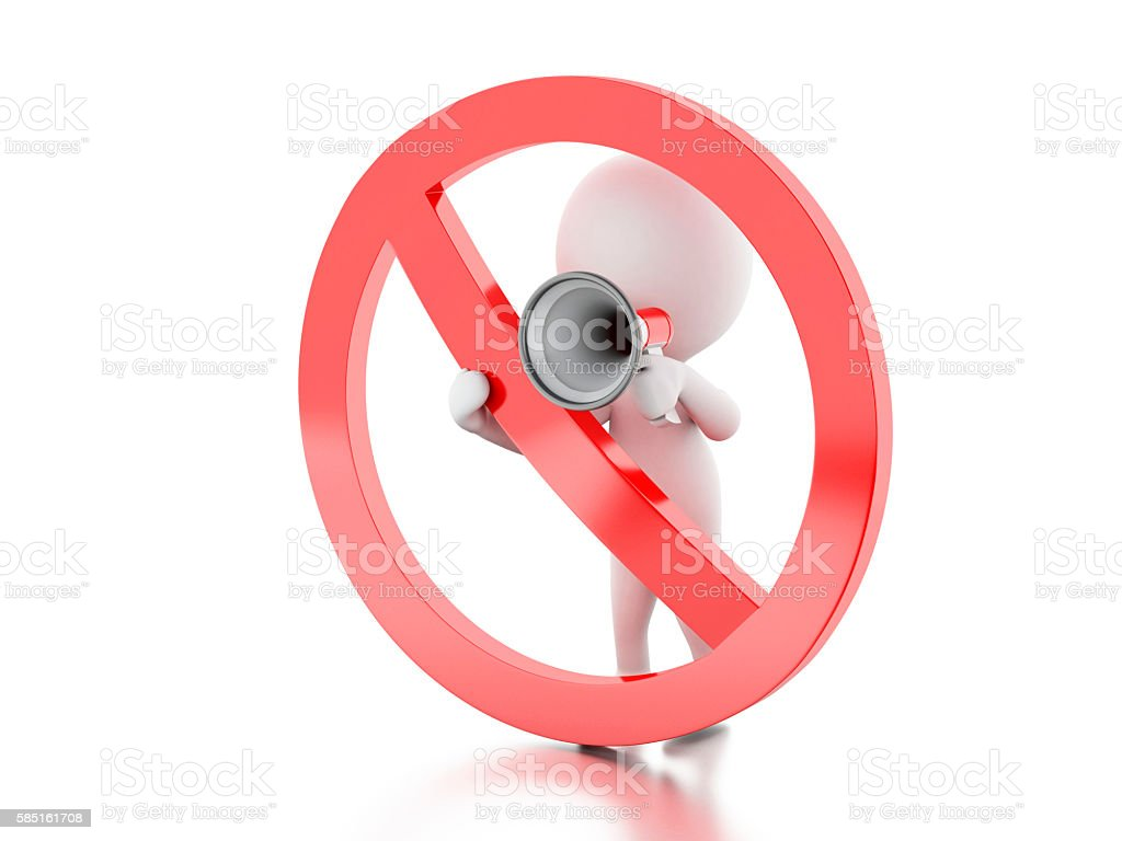 3d White people with megaphone surrounded by a forbidden sign. stock photo