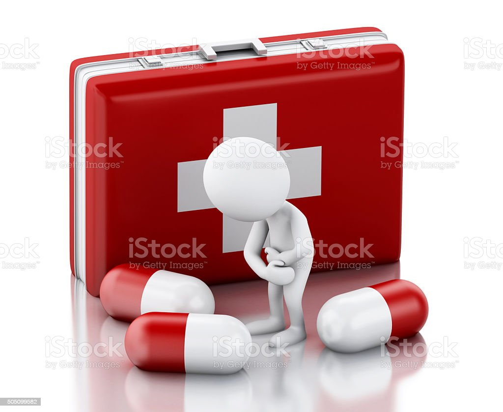 3d White people with pain needs pills. stock photo