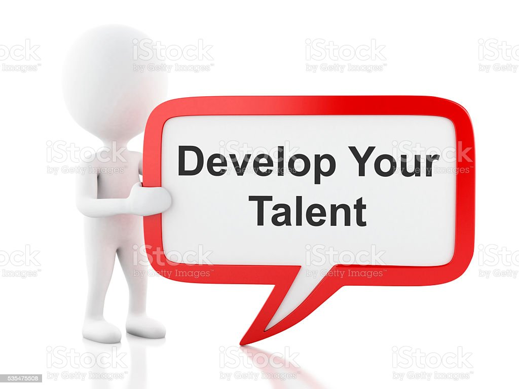3d White people with speech bubble that says Develop Talent stock photo